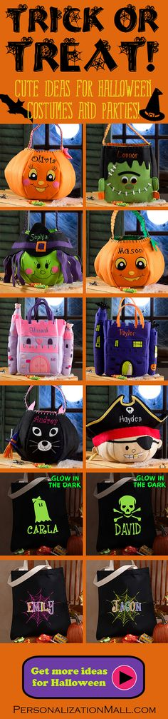 I LOVE LOVE LOVE these Halloween Trick or Treat Bags! They're absolutely adorable and since they're personalized the kids won't mix up their candy any more! This site has tons of great Halloween Ideas - you HAVE to check them out! #Halloween #TrickOrTreat