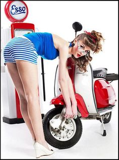 Filler-up and check the tires. Esso Vespa Service at it's best !!