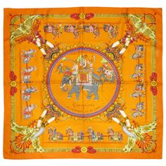 HERMES Silk Caparacons De La France Et De L'Inde Scarf orange Hermes color | From a collection of rare vintage scarves at http://www.1stdibs.com/fashion/accessories/scarves/