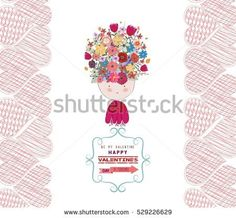 valentine day greeting card frame retro with flower