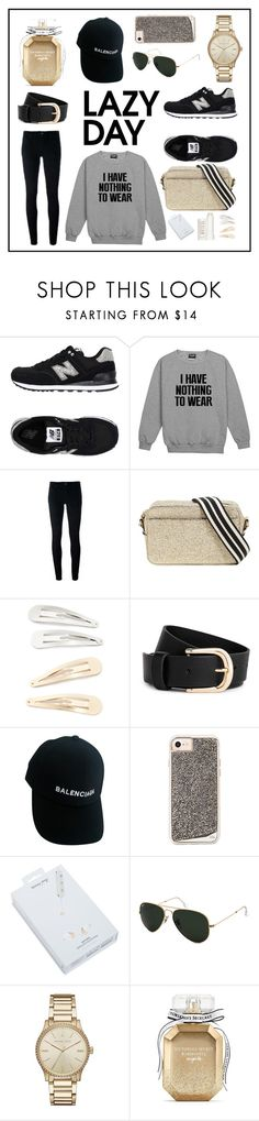 My Black & Gold Lazy Day by justyna-woznica on Polyvore featuring moda, Levi's, New Balance, RED Valentino, Michael Kors, Balenciaga, Ray-Ban, Kitsch, Happy Plugs and Victoria's Secret