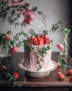 ~ Chocolate layer cake made with Strawberries ~