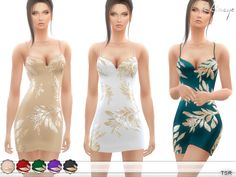 Created By ekinege Created for: The Sims 4 • Gold Sequin Leaf Dress This mini dress in a bodycon style features gold leaf detailing, cami straps. 8 different colors. Custom...