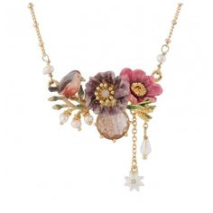 Duo of flowers, little bird and glittered faceted glass necklace ($165) ❤ liked on Polyvore featuring home and home decor