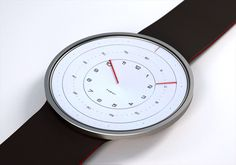 "Rhode Island based industrial designer Kyle Dell'Aquila has reinvented the way we read time with her new Radian Watch! ""The timepiece is targeted at simplifying the users experience of telling time while reducing the watch concept to a minimal state,"" the Modern Watches, Cool Watches, Watches For Men, Wrist Watches, Men's Watches, Aftershave, Watch Faces, Beautiful Watches, Fashion Watches"