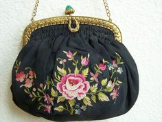 Antique Purse Roses on Ruched Black Silk Faille Jeweled Frame Vintage Bags, Black Silk, Coin Purse, Roses, Textiles, Jewels, Handbags, Wallet, Shoe Bag