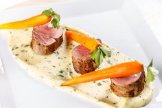 #Fine dining meal Fine dining meal with pork loin fillet carrots and mashed potatoes