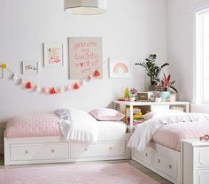 Ava Regency Platform Bedroom Set - March 14 2019 at Twin Girl Bedrooms, Sister Bedroom, Twin Bedroom Ideas, Twin Room, Small Bedrooms, Girl Rooms, Bedroom Sets For Kids, Girls Twin Bedding, Small Shared Bedroom
