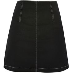 Topshop Moto Contrast Stitch a-Line Denim Skirt ($9.73) ❤ liked on Polyvore featuring skirts, mini skirts, bottoms, topshop, black, zipper mini skirt, fitted denim skirt, zipper skirt, a line mini skirt and zip skirt