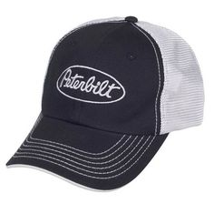f40e8d212 Peterbilt Motors Mesh Back Black Cap Summer mesh back panels and contrast  visor stitching. Unstructured chino cotton twill front panels and visor.