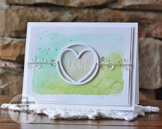 Wednesday, July 8, 2015 Pickled Paper Designs: Reverse Confetti July Release Blog Hop - watercolor background, heart-in-a-circle portion of  the Globe Confetti Cuts die-cut