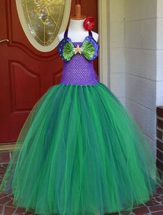 Little Mermaid Ariel Inspired Princess Tutu Dress Costume Emerald and Jade for Weddings, Pageants, Photos, Birthdays, Parties