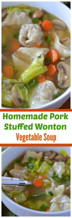 This Homemade Pork Stuffed Wonton Vegetable Soup is plump full of scrumptious pork stuffed wontons, onions, mushrooms, carrots, celery and Napa Cabbage in a perfectly seasoned vegetable broth! Wonton Recipes, Pork Recipes, Asian Recipes, New Recipes, Dinner Recipes, Healthy Recipes, Ethnic Recipes, Oriental Recipes, Oriental Food