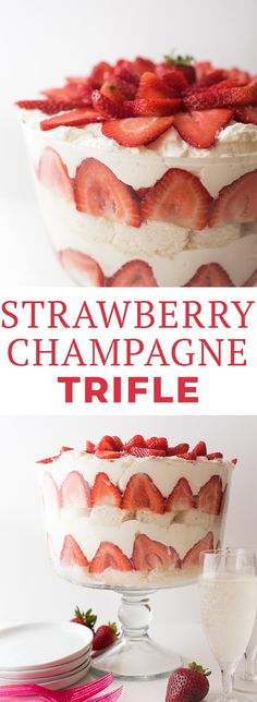 This Strawberry Champagne Trifle dessert features layers of angel food cake, champagne mascarpone whipped cream, and fresh strawberries! It's also a great dessert for New Year's Eve! #strawberrytrifle #trifle #triflerecipe #dessert #trifledessert #summerdessert #dessertideas #desserts #letseatcake #trifles #strawberry #strawberrydesserts #strawberryrecipes #dessertrecipes #englishdesserts #britishdesserts #british #greatbritishbakeoff