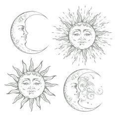 Boho flash tattoo design hand drawn art sun and crescent moon set. Antique style… Boho flash tattoo design hand drawn art sun and crescent moon set. Chic Tattoo, Boho Tattoos, Sun Tattoos, Flash Tattoos, Tattoo Drawings, Art Drawings, Hand Kunst, Sun Drawing, Moon Sun Tattoo