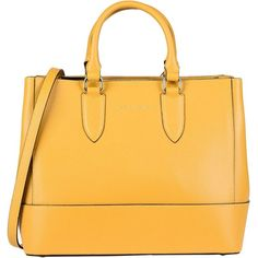 Tuscany Leather Handbag (570 RON) ❤ liked on Polyvore featuring bags, handbags, ochre, handbag satchel, leather satchel handbags, man bag, leather purse and studded leather purse