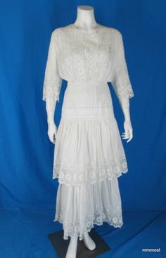 Antique Edwardian Cotton Lawn Tea Dress Lace & Eyelet Trim