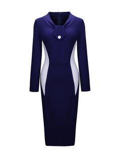 Designed Decorative Button Color Block Bodycon Dress