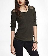 quilted yoke sweatshirt olive green Express $49.90
