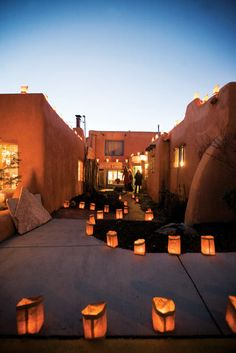 Farolitos mark the Lighting of Ledoux in Taos, NM