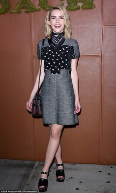Teen fashionista: Mad Men's Kiernan Shipka also wore a Coach outfit crafted from a grey sw...
