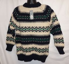 VTG NOS Sweater Grigoropoulos Bros Olympic Poplar Art Thick Knit Ski Wool Nordic