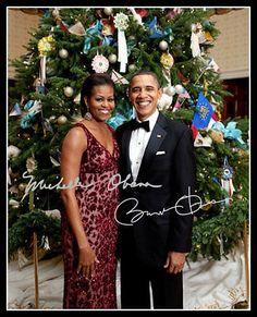Barack Obama Michelle Christmas Autographed Repro Photo 8X10 President Democrat    eBay