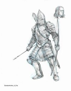Weta sketches Gondor archer
