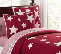 1st Floor / The Cadette Family Staff Child's Bedroom, With View Of Forest / Red And White Star Quilted Bedding #pbkids
