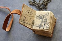 mini book necklace by Antico Valore with art by D Zlatkis Book Journal, Art Journals, Journal Covers, Artist Journal, Mini Books, Book Necklace, Handmade Books, Handmade Notebook, Handmade Journals
