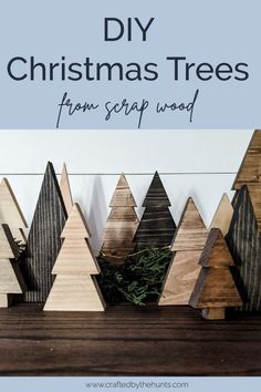 DIY Wood Christmas Trees Make a Christmas tree forest out of scrap wood for free! These mini wood Christmas trees are easy to make and are the perfect addition to your holiday decor! Diy Christmas Decorations, Christmas Projects, Christmas Diy, Christmas Countdown, Christmas Signs, Wood Crafts For Christmas, Xmas, Vintage Christmas, Christmas Tree Forest