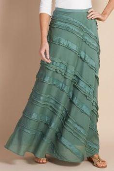 Silk Tiered Skirt I - Silk Skirt, Tiered Skirt, Back Elastic Waist, Side Zip, Fully Lined Modest Outfits, Modest Fashion, Cute Outfits, Fashion Outfits, Womens Fashion, Silk Skirt, Dress Skirt, Dress Up, Cotton Skirt