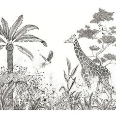Safari Bedroom, Plant Sketches, Stencil Painting, Kidsroom, Chinoiserie, Vintage Photos, Moose Art, Black, Color