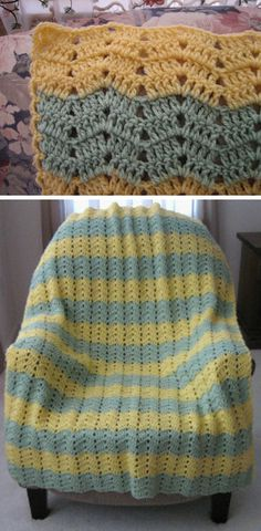 Lemon Lime Peek-a-Boo Ripple, free pattern.  Small, subtle ripples would be nice for a baby blanket; very easy pattern.