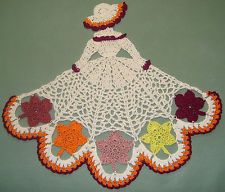 NEW Hand Crocheted Autumn/Fall Crinoline Lady/Girl Doily w/Leaves AFATC  {E-Bay}