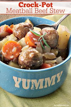 CrockPot Meatball Beef Stew Warm up to a big bowl of this hearty and delicious CrockPot Meatball Beef Stew This slow cooker recipe features tender meatballs simmered all. Slow Cooker Recipes, Crockpot Recipes, Cooking Recipes, Kitchen Recipes, Meatball Stew, Classic Beef Stew, Crock Pot Meatballs, Big Bowl, Onions