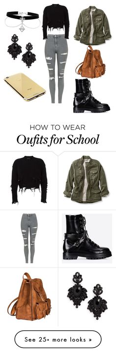 """School"" by sewillisaraellen on Polyvore featuring Topshop, adidas Originals, L.L.Bean, Valentino, Yves Saint Laurent, Tasha, Goldgenie and plus size clothing"