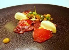 Lasarte, Barcelona: Tempered beef steak on a foie gras curd, lobster slice, and mustard ice-cream