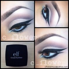 """Cut crease, double wing. Did this a couple weeks ago, never posted it. First time I used Elf cream liner and I have to say its not that bad! Creamy and…"""