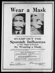 "One Oregon newspaper clip reads: ""We appeal to your civil patriotism to co-operate with us in our effort to stamp out the Spanish Influenza or ""Flu"" Plague in Portland by wearing a mask. Funny Vintage Ads, Vintage Humor, Vintage Advertisements, Retro Ads, Old Photos, Vintage Photos, Soldiers Returning Home, Influenza, Old Ads"