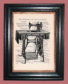 Antique Singer Sewing Machine  Vintage Dictionary by CocoPuffsArt, $9.99