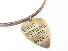 Hand Stamped Necklace Leather Guitar Pick Necklace Where Words Fail Music Speaks Guitar and Notes BFF Gift
