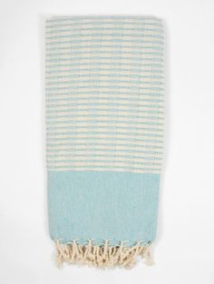 Turquoise cotton Turkish hammam towel with tactile slub weave. Our thick cotton Miami towels make great beach towels, spa towels, scarves or throws. Fast shipping