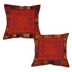 Amazon.com: Indian Cotton Cushion Cover with Thread Embroidery & Patchwork Home Decor Sofa Cover, 16 X 16 Inches: Home & Kitchen