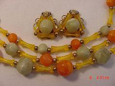 Vintage Green  Orange  Gold Plastic Bead 3 Strand Adjustable
