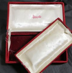 Marvella luxury velvet jewelry presentation box that is hand signed and dated by the original owner who received it as a gift in 1948...
