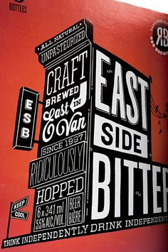 typographic design on packaging for R Brewing designed by Saint Bernadine Mission Communications http://www.stbernadine.com/