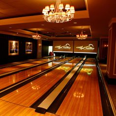 love these lanes. Replace light fixtures with chandeliers. Definitely a Nice Idea for Bowlers