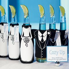 "Have your guests' cozy up with this tuxedo and wedding gown bottle koozies! These durable and fun koozies are perfect for summer weddings in the warm summer night. Bottle koozie measure 5.75""L x 2.5""W and are available in a t-shirt shaped tuxedo or a zippered wedding dress! Please note each style is sold separately."