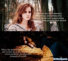 Now, Twilight isn't all that bad, but you just can't compare the female leads (or the books/movies/anything really).Hermione and the Harry Potter Series are SO MUCH BETTER than Bella and Twilight. Twilight Harry Potter, Harry Potter Love, Twilight Jokes, Twilight Parody, Harry Potter Humor, Jacques A Dit, Must Be A Weasley, Ron Weasley, Dark Wizard